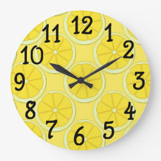 Yellow Lemon Design Kitchen Wall Clock