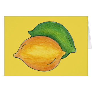 Yellow Lemon Green Lime Citrus Fruit Cooking Food Card