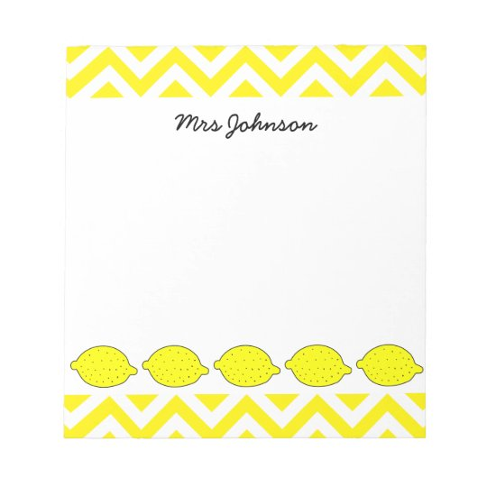 Yellow lemon notepad for teacher | Personalized