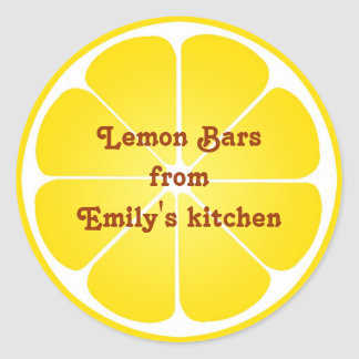 Yellow lemon party favor label seal jar top round round stickers