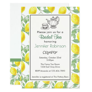 Yellow Lemon Pattern Bridal Tea Invite