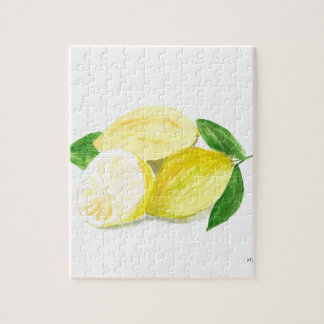Yellow Lemon print art fruit watercolour Jigsaw Puzzle