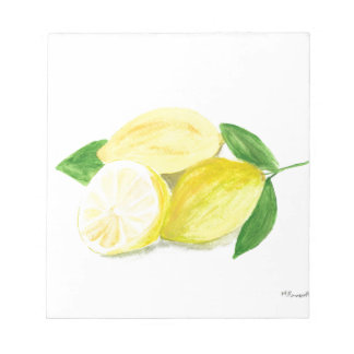 Yellow Lemon print art fruit watercolour Notepad