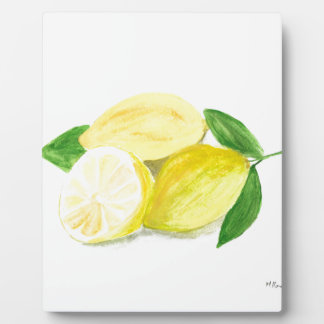 Yellow Lemon print art fruit watercolour Plaque