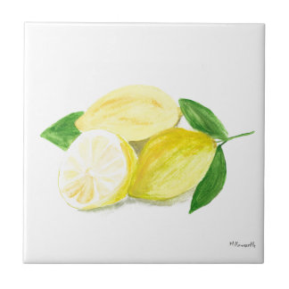 Yellow Lemon print art fruit watercolour Tile