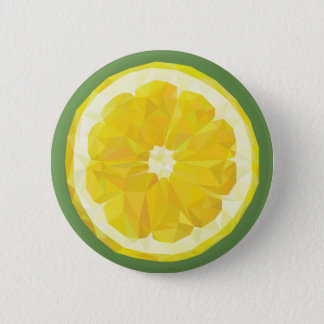 Yellow lemon slice button. 2 inch round button
