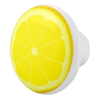 Yellow lemon slice knob handle