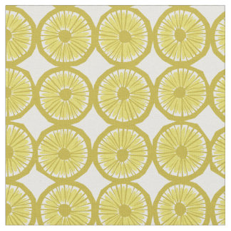 yellow lemon slices pattern modern print fabric