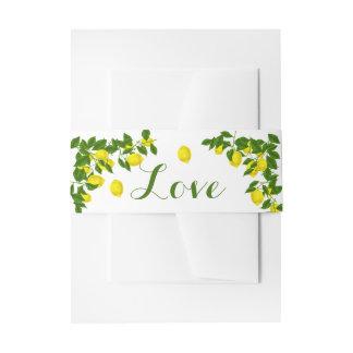 Yellow Lemon Watercolor Green  Summer Wedding Invitation Belly Band