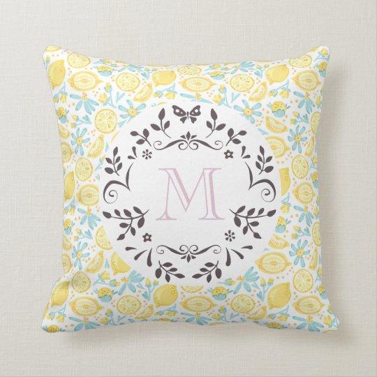 Yellow Lemons & Blue Flowers With Monogram Letter Throw Pillow