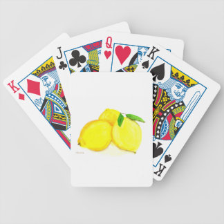 Yellow lemons fruits bicycle playing cards