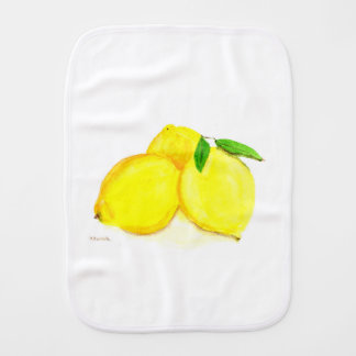 Yellow lemons fruits burp cloth