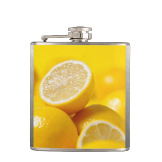 Yellow Lemons Hip Flask