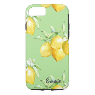 Yellow Lemons on Light Green iPhone 8/7 Case