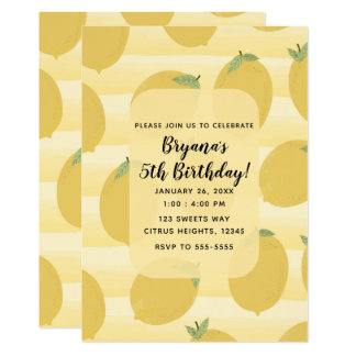 Yellow Lemons Summer Fruit Bright Birthday Party Card