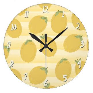 Yellow Lemons Summer Fruit Watercolor Fun Bright Large Clock
