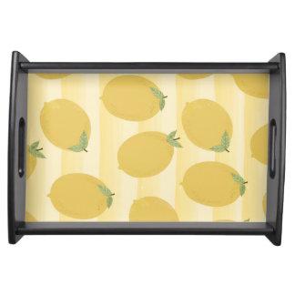Yellow Lemons Summer Fruit Watercolor Fun Bright Serving Tray