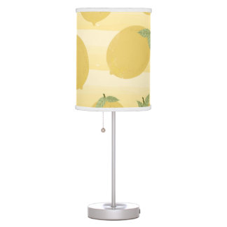 Yellow Lemons Summer Fruit Watercolor Fun Bright Table Lamp