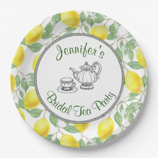 Yellow Lemons with Green Leaves Bridal Tea Party Paper Plate