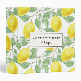 Yellow Lemons with Green Leaves Pattern 3 Ring Binder