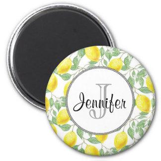 Yellow Lemons with Green Leaves Pattern Monogram Magnet