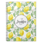 Yellow Lemons with Green Leaves Pattern Monogram Notebook