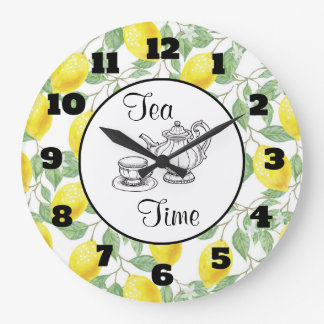 Yellow Lemons with Green Leaves Pattern Tea Time Large Clock