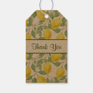 Yellow Lemons with Green Leaves Pattern Thank You Gift Tags
