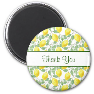 Yellow Lemons with Green Leaves Pattern Thank You Magnet