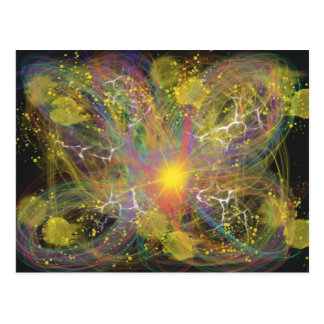 Yellow Lightning Star Abstract Art Space Design Postcard