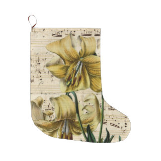 Yellow Lilies Music Shabby Large Christmas Stocking