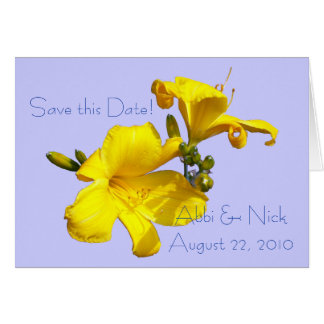 Yellow Lilies wBlue BG Save the Date Card
