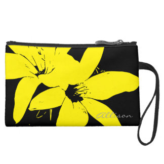 Yellow Lilly Flowers Suede Wristlet