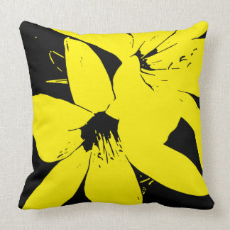Yellow Lilly Flowers Throw Pillow