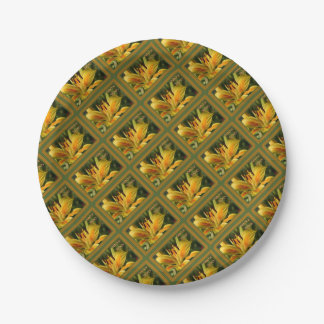 Yellow Lily Birthday Wishes Paper Plate