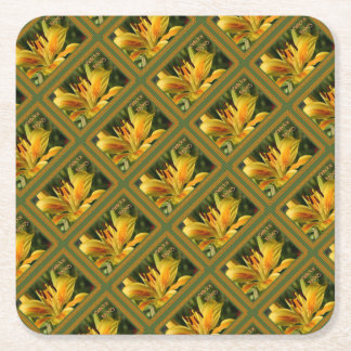 Yellow Lily Birthday Wishes Square Paper Coaster