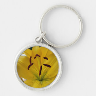 Yellow Lily Curved Petals Silver-Colored Round Keychain