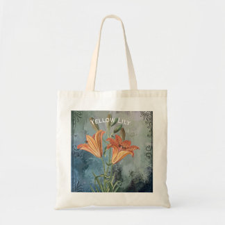 Yellow Lily on Blue Distressed Background Tote Bag