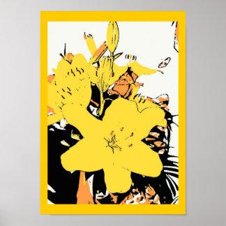 Yellow Lily Pop Art Cartoon Poster