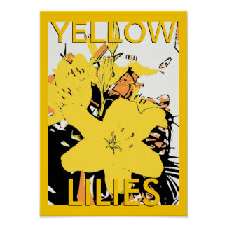 Yellow Lily Pop Art Cartoon Poster with Logo