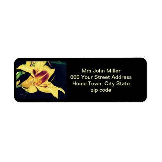 Yellow Lily Return Address Label