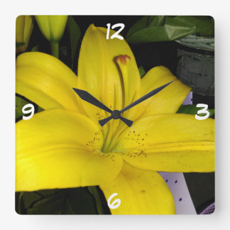 Yellow Lily Square Wall Clock