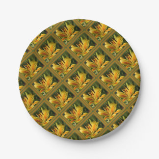 Yellow Lily With Decorative Border Paper Plate