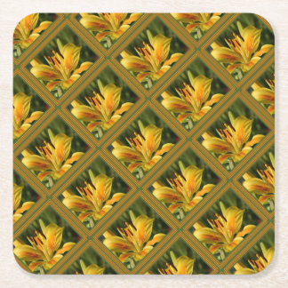 Yellow Lily With Decorative Border Square Paper Coaster