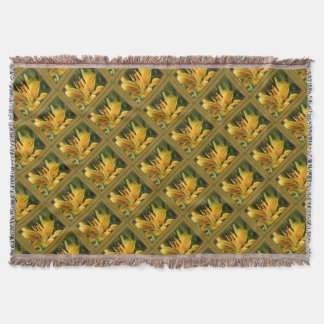 Yellow Lily With Decorative Border Throw Blanket