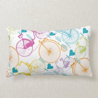 Yellow Lime Stylized Vintage Modern Bicycle Lumbar Pillow
