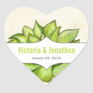 Yellow Lime Succulent Modern Typography Wedding Heart Sticker