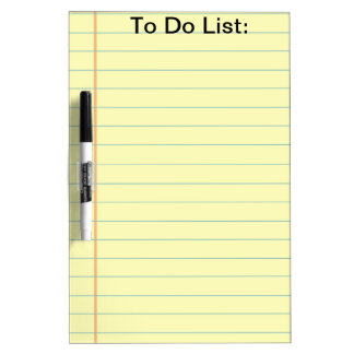 Yellow Lined Paper To Do List- Dry Erase Board