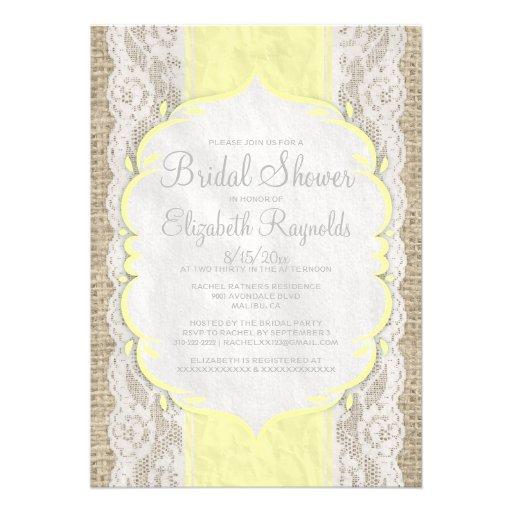 Yellow Linen Burlap Lace Bridal Shower Invitations Invite