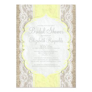 Yellow Linen Burlap Lace Bridal Shower Invitations